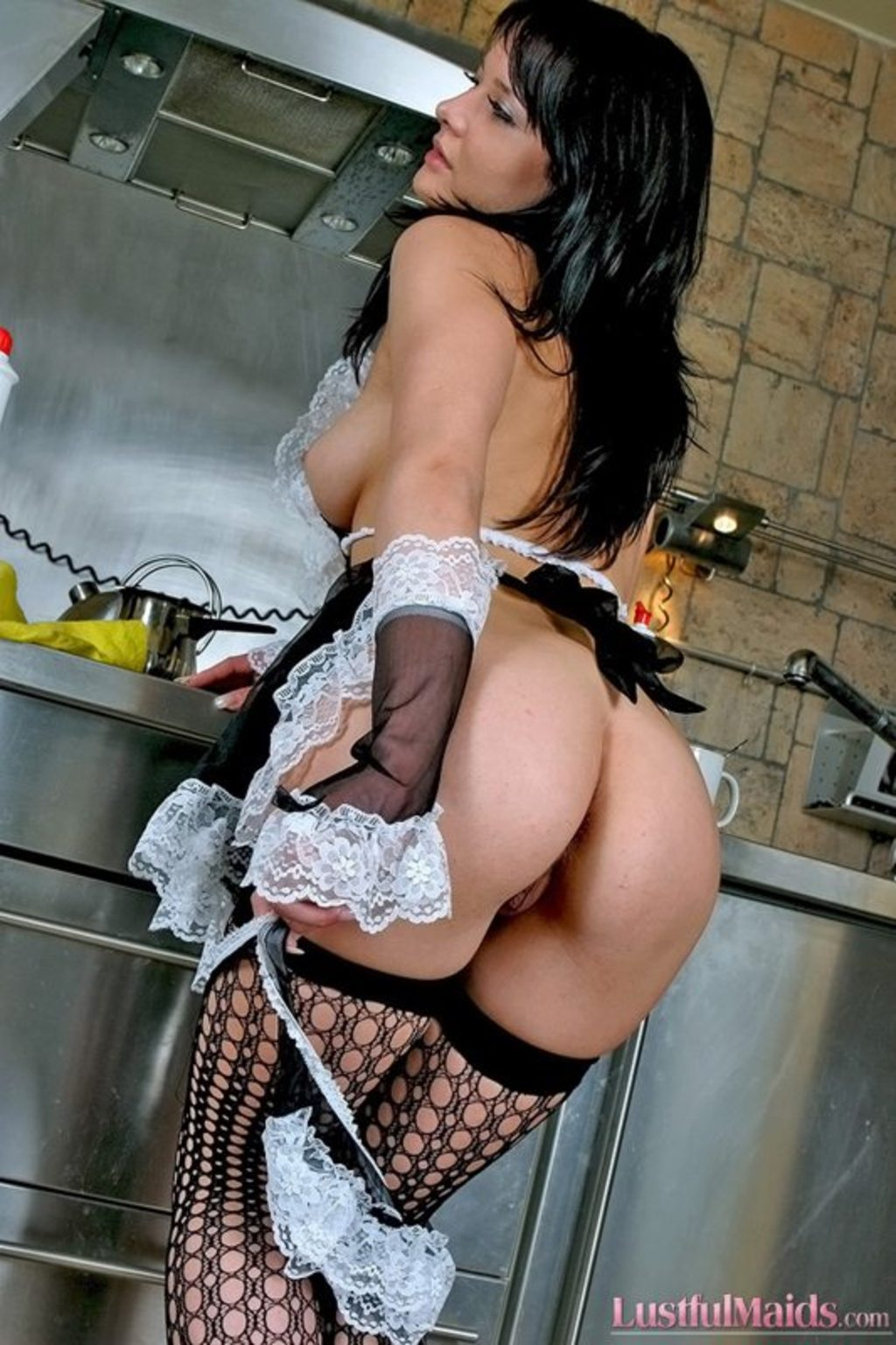 Latina maid with big round tits moans